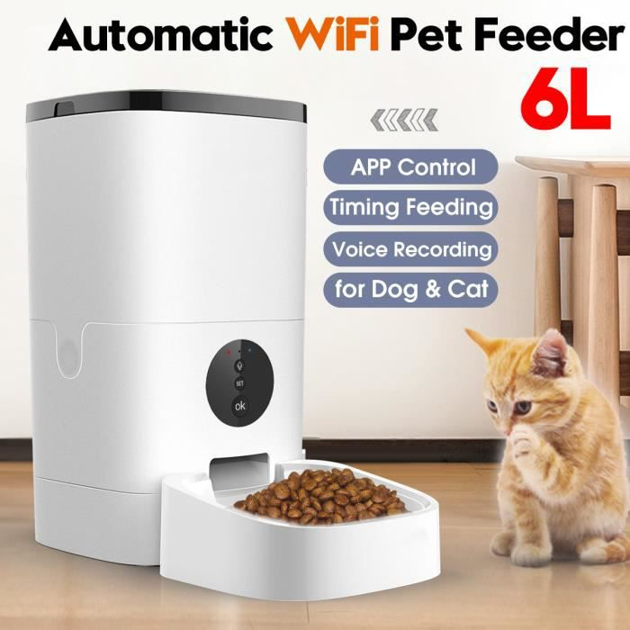 6L WIFI Automatique Distributeur Croquettes Nourriture Chien Chat Enregistrement Gamelle Animal de compagnie APP Contrôle EU prise