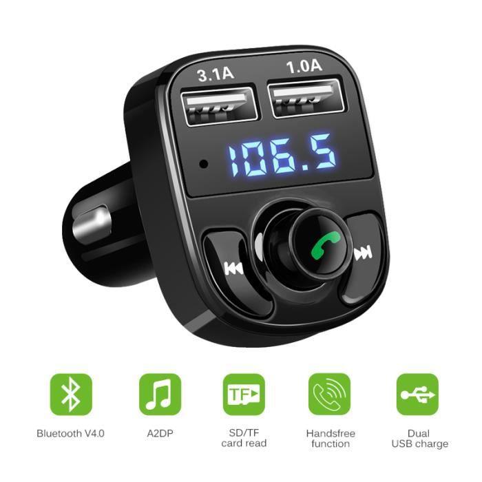 Transmetteur FM Bluetooth Comsoon Kit Main Libre Voiture Chargeur de Voiture Adaptateur Radio sans Fil avec Dual USB Ports, Émetteur