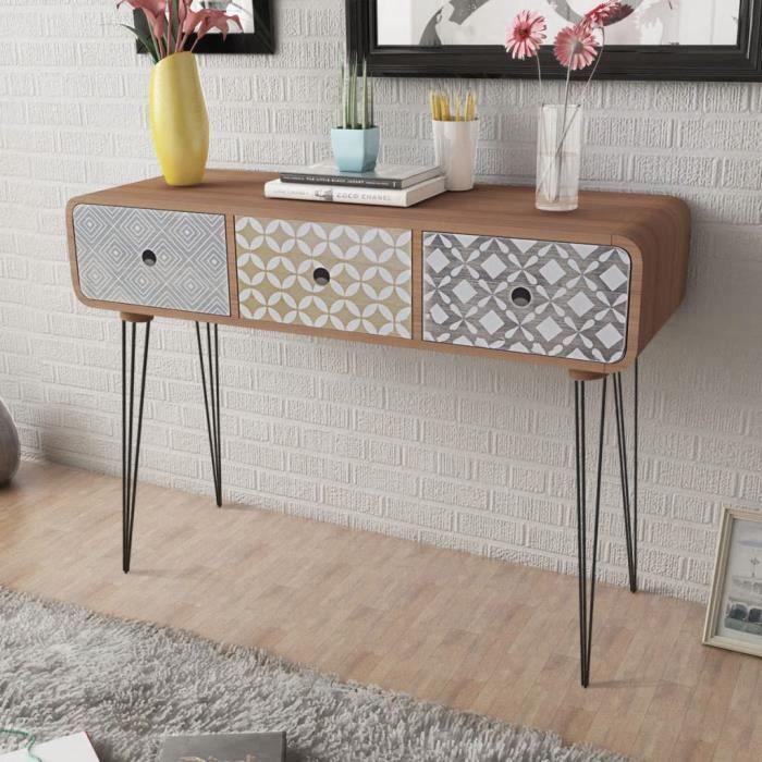 Table Console-Table d'entrée-Table de Salon avec 3 tiroirs Marron