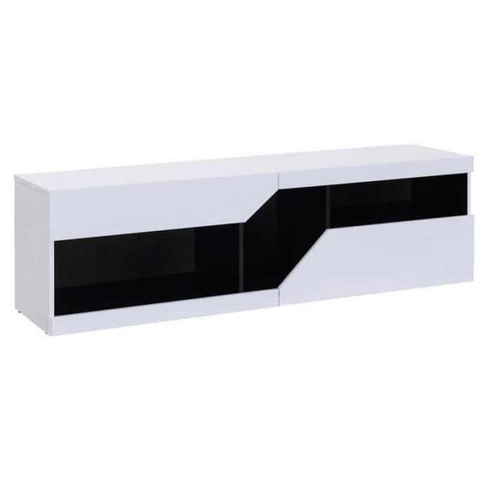 Meuble Tv Design -sullivan- 160cm Blanc & Noir - Paris Prix