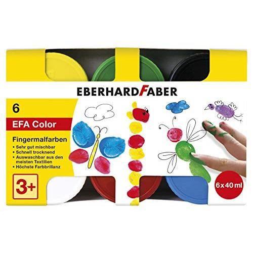 Eberhard Faber 578606 Lot de 6 pots de peinture à doigts pour enfants et tout-petits 40 ml