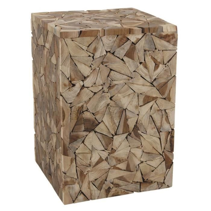 tabouret cube en bois recycl achat vente tabouret bois teck cdiscount. Black Bedroom Furniture Sets. Home Design Ideas