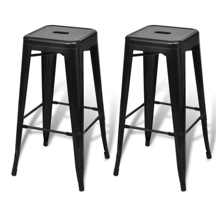 lot de 2 tabourets de bar acier factory design moderne noir 1202003 achat vente tabouret de. Black Bedroom Furniture Sets. Home Design Ideas