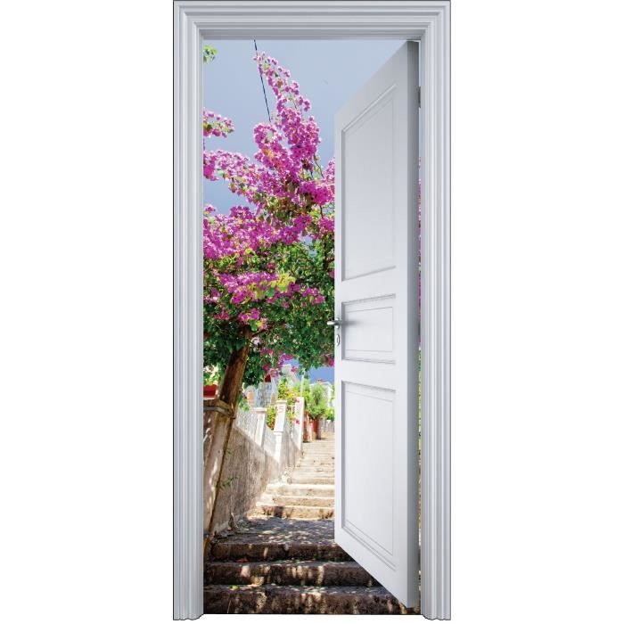 Sticker porte trompe l 39 oeil glycine sur escalier 90x200cm for Decoration porte interieure poster sticker