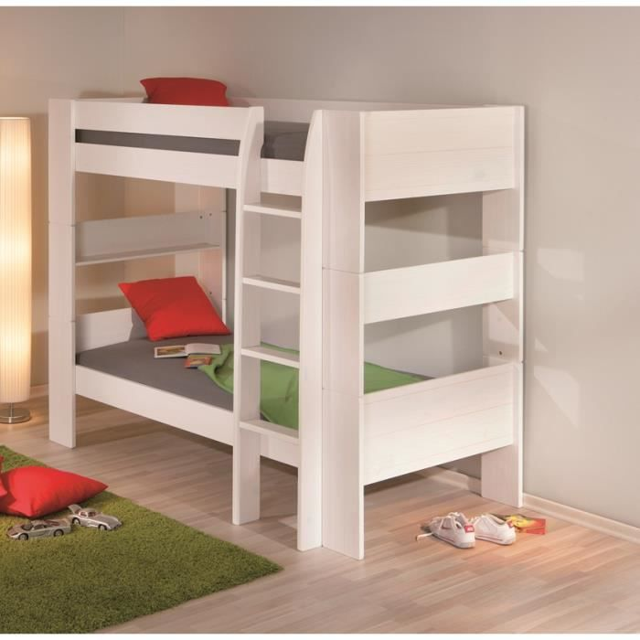 lit superpos 90x200 en bois massif blanc achat vente. Black Bedroom Furniture Sets. Home Design Ideas