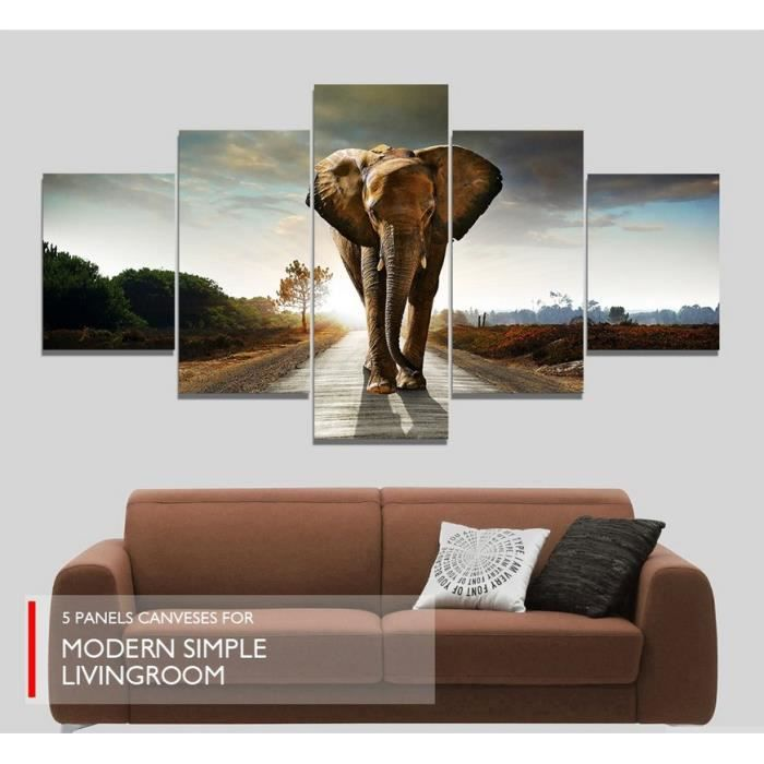 5pcs set tableau peinture l 39 huile toile elephant peint main mur d co sans chassis sans cadre. Black Bedroom Furniture Sets. Home Design Ideas