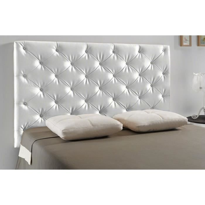 t te de lit capitonn diamond couleur argent mesure lit de 120 cm de large achat. Black Bedroom Furniture Sets. Home Design Ideas