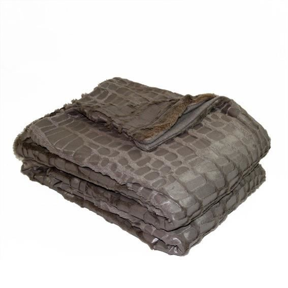 plaid imitation fourrure 180 x 230 cm croco taupe achat vente couverture plaid cdiscount. Black Bedroom Furniture Sets. Home Design Ideas