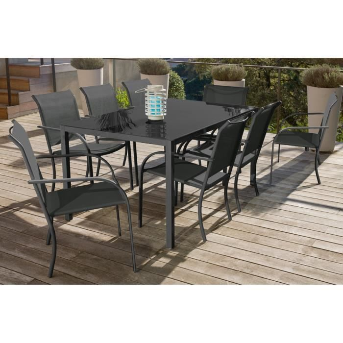 Salon de jardin 190 CM Anthracite / Gris Finition Mate