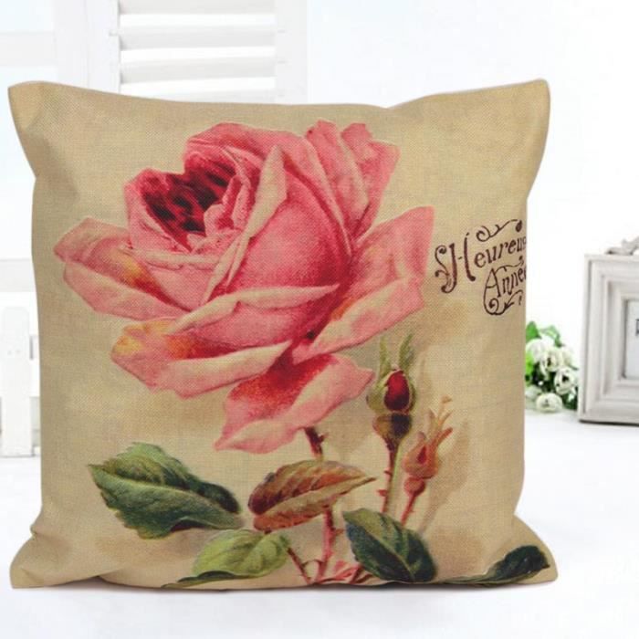 rose vintage rose throw pillow case personalized home decor coussin taie achat vente lit. Black Bedroom Furniture Sets. Home Design Ideas