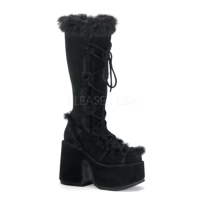 Demonia CAMEL-311 5 Inch P/F Goth Punk GoGo Blk Faux Suede-Rabbit Fur Knee BT