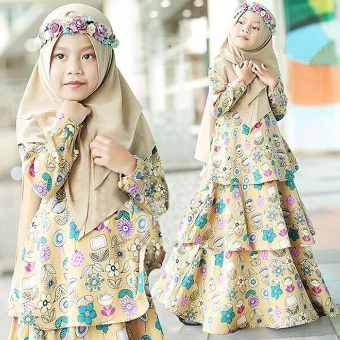 Beige 2 7 Ans Robe Longue Musulman Islamique Abaya Fleuri Avec Hijab Robe Zippee Manches Longues Pour Enfant Fille Beige Achat Vente Robe Cdiscount