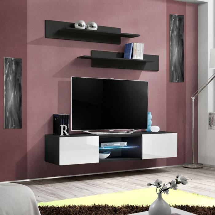 paris prix meuble tv mural design fly iii 160cm blanc noir achat vente meuble tv paris. Black Bedroom Furniture Sets. Home Design Ideas