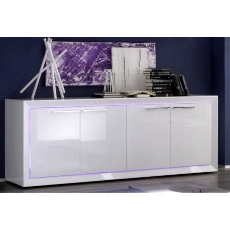 buffet design blanc laqu led 4 portes looper achat vente buffet bahut buffet design. Black Bedroom Furniture Sets. Home Design Ideas