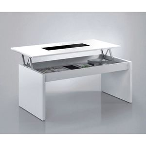 Table basse relevable blanc achat vente table basse for Table basse blanche plateau relevable