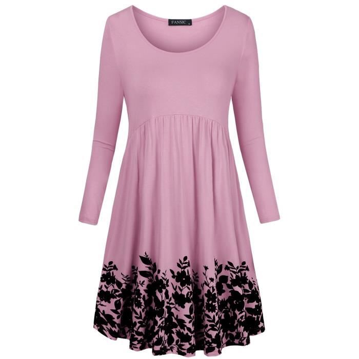 Womens T Shirt Dress With Pockets,long Sleeve Floral Pleated A Line Swing Dress 2XTAUC Taille-42