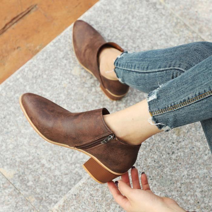 Femmes Femmes Chaussures Automne Mode cheville cuir solide Martin Bottes courtes HX1567 marron