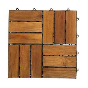 DALLAGE Lot de 10 dalles en bois avec fixation - Carrées 3