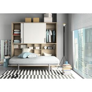 lit escamotable armoire lit achat vente lit escamotable armoire lit pas cher cdiscount. Black Bedroom Furniture Sets. Home Design Ideas