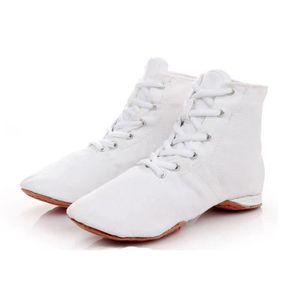 Blanc PU Lacet Caoutchouc Semelle Divisée Danse Jazz Entraînement Chaussures