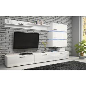 MEUBLE TV MURAL Meuble TV, ensemble complet ERGOS blanc mat - faça