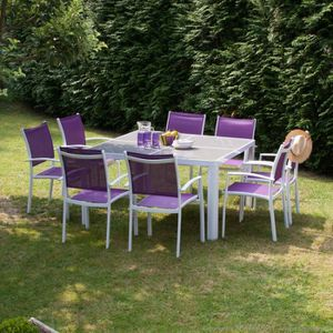 Salon de jardin 8 places aluminium : table 140x140 cm + 8 ...