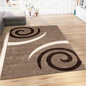 TAPIS Tapis de salon - Motif spirales marron - 200 x 290