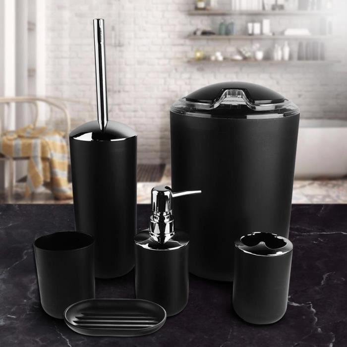 6pcs / set Accessoires de salle bain Set Porte-brosse à dents, poubelle, distributeur de savon robuste et durable (noir)