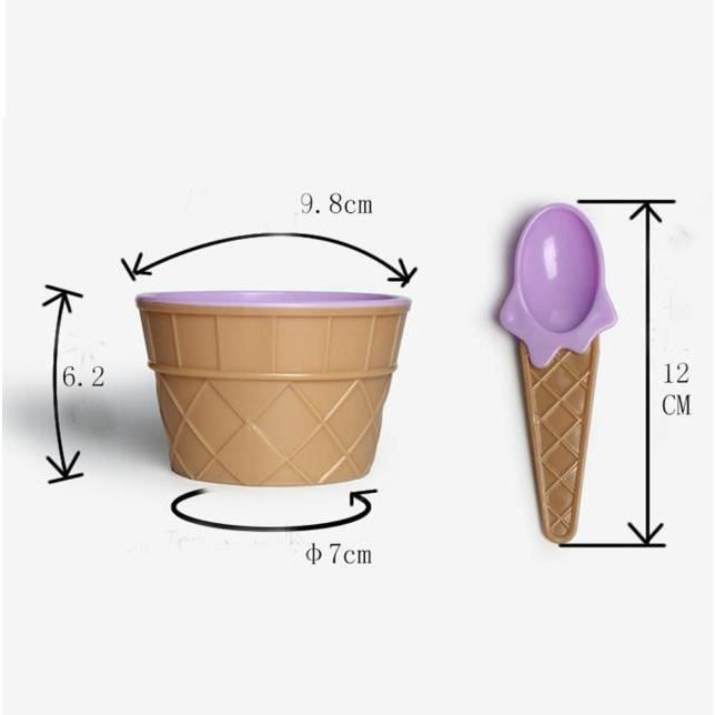 crème glacée 1pc enfants bols tasse de crème glacée cadeaux bol Couples Dessert PP @Duo1724