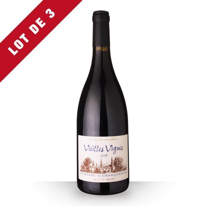 Lot de 3 - Domaine de Grangeneuve Vieilles Vignes 2016 AOC Grignan-Les-Adhémar - 3x75cl - Vin Rouge