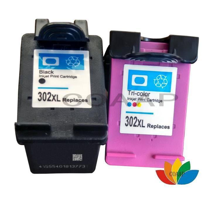 Cartouches d'encre 2-Pack Compatible avec Hp 302 XL 302XL HP DeskJet 1110 2130 3630 Envy 4520 4524 OfficeJet 3830 4650 3800 hp302