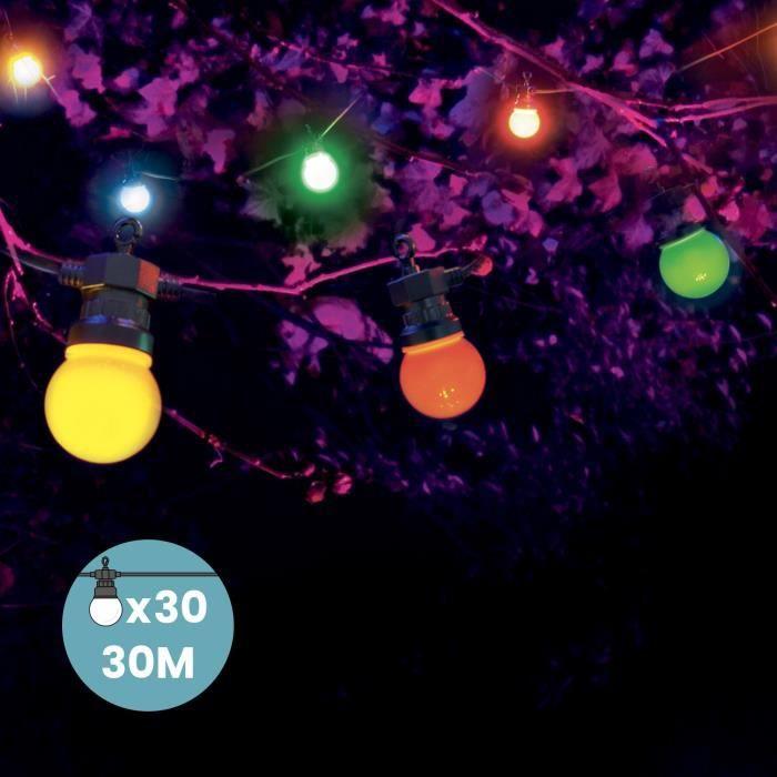 Kit Guirlande Guinguette 30m Multicolore Raccordable en Série Guirlande Lumineuse 30 Bulbes Rouge Jaune Vert Bleu Extérieur Terrasse