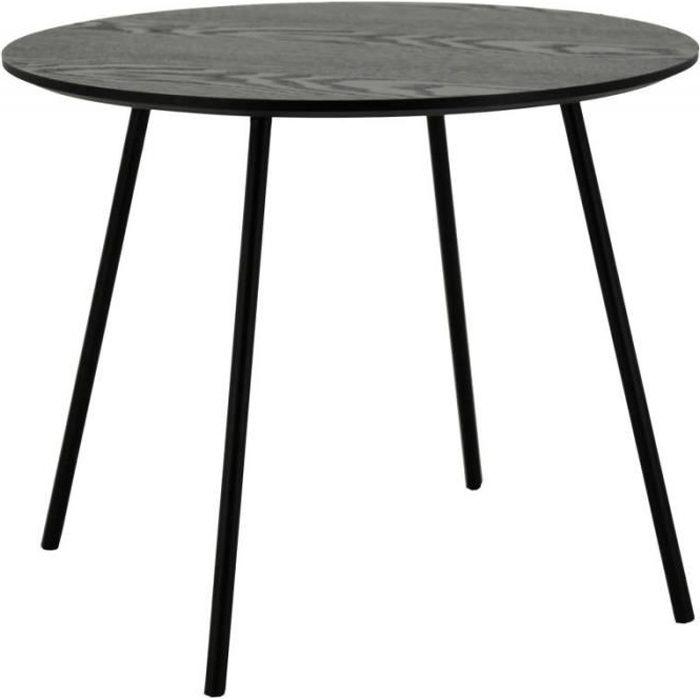 Table basse ronde en bois noire pieds en métal