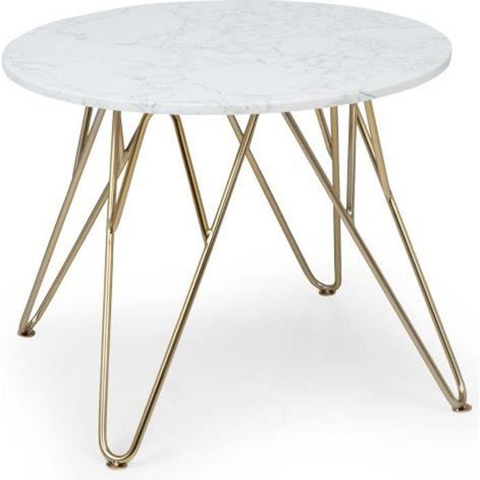 Besoa Round Pearl Table basse de salon ronde 55 x 45 cm (ØxH) - Pieds réglables en hauteur - Design marbre doré & blanc