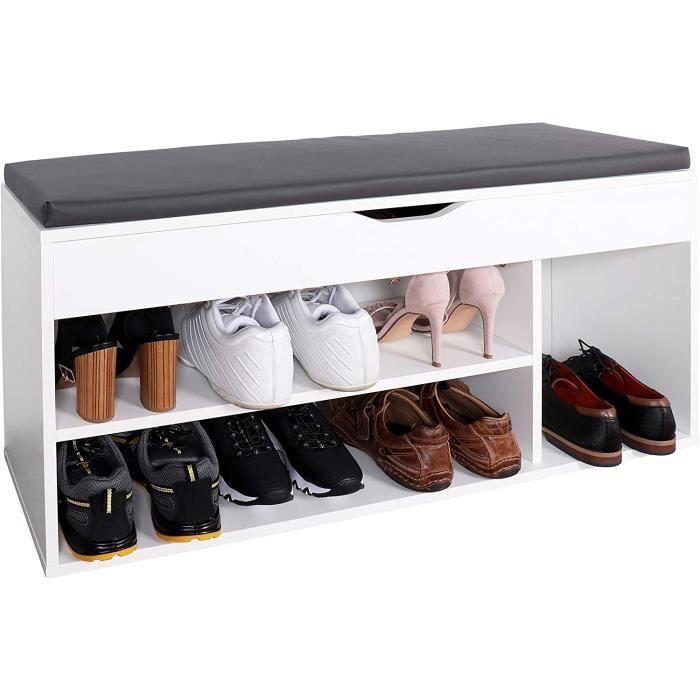 RICOO WM034-W-A Meuble à Chaussures 103x49x30cm Bois Blanc Banc Coffre Rangement Commode Banquette Meuble de Rangement Chaussure202
