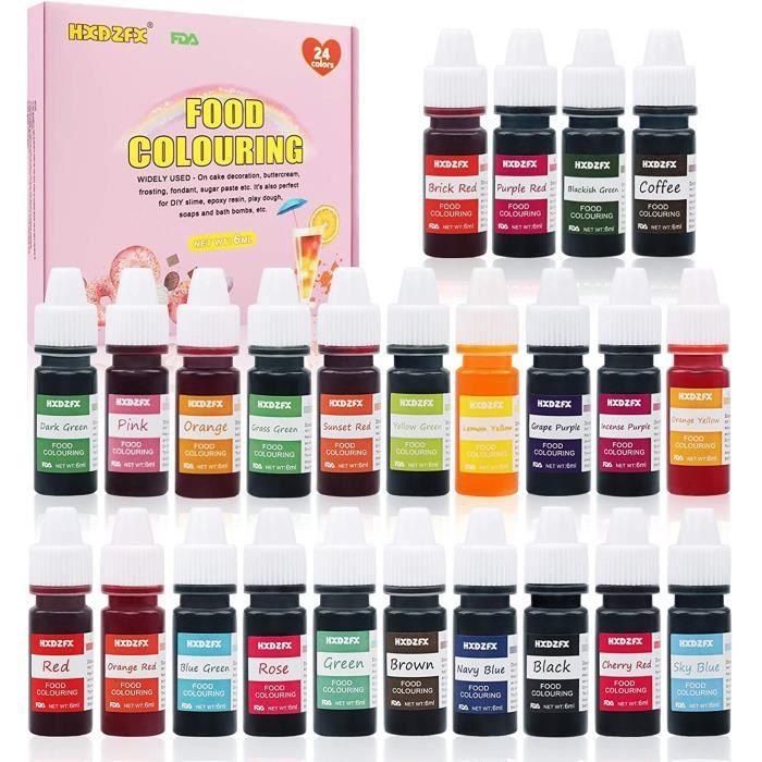 Colorant alimentaire liquide concentré Nourriture Dye 24 couleurs 6ml