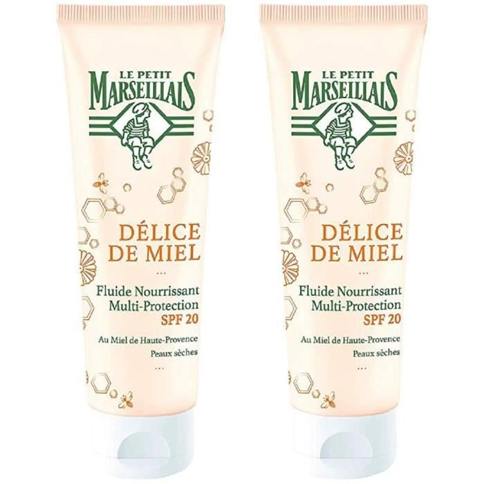Le Petit Marseillais FLUIDE SPF 20 Multi-protection Délice de Miel Tube 50 ml - Lot de 2