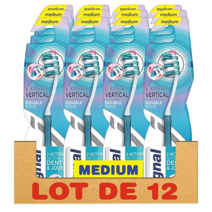SIGNAL Lot de 12 Brosses à dents Manuelle Medium Expert vertical - Double face