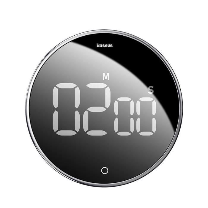Minuteur,Compte à rebours réveil mécanique cuisson minuterie alarme compteur horloge magnétique numérique minuteries - Type Black