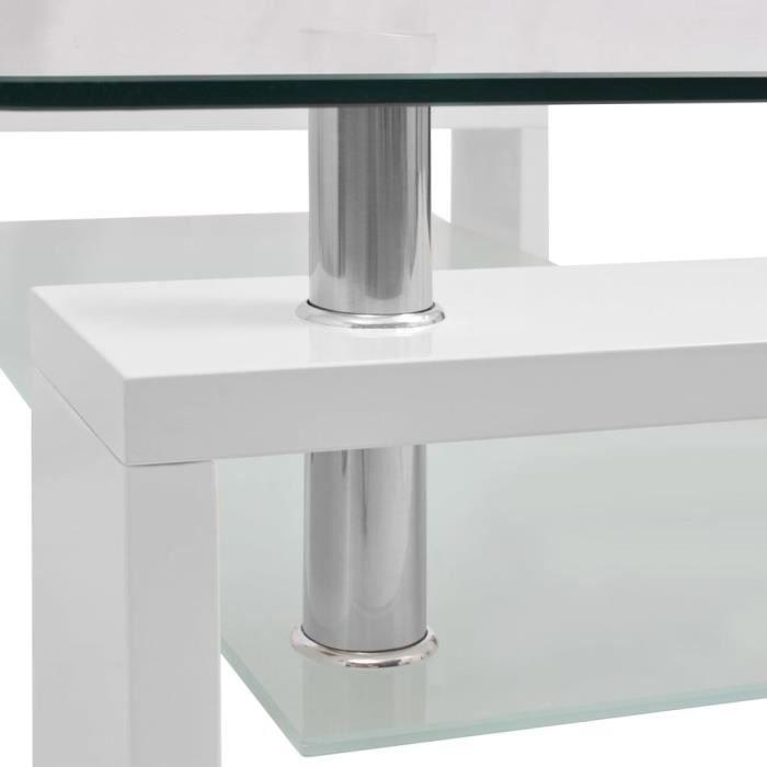 Table Basse en Verre Trempé avec Finition Brillante Design Contemporain Blanc et Transparent 110x60x40cm-2_Camsoos