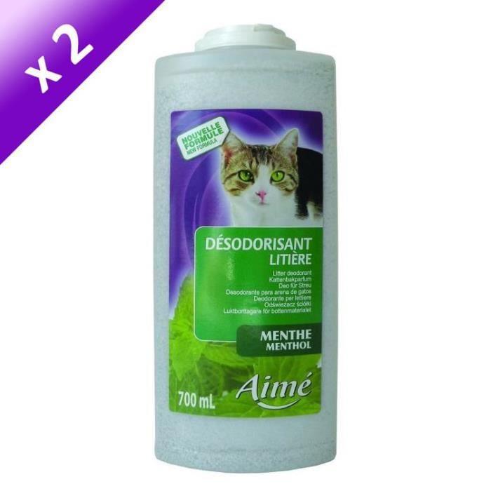 Lot de 2 - AIME Désodorisant pour litière menthe 700 ml - Pour chat