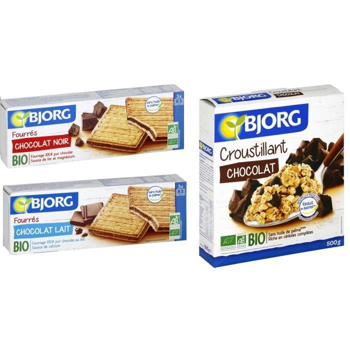Lot de 3 - 1 BJORG Fourrés chocolat noir 225g + 1 BJORG Croustillants chocolat 500g + 1 BJORG Fourrés chocolat Lait 225g