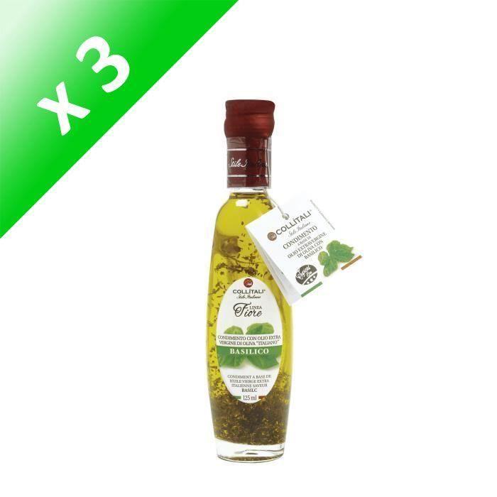 [LOT DE 3] COLLITALI Bouteille -poignée design- FIORE huile olive Italie saveur basilic - 125 ml