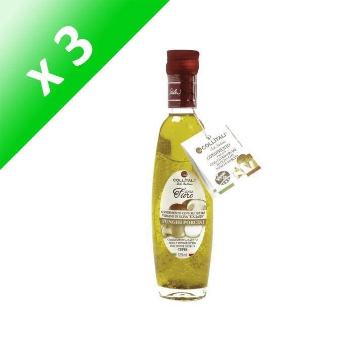 [LOT DE 3] COLLITALI Bouteille -poignée design- FIORE huile olive Italie saveur cèpe- 125 ml