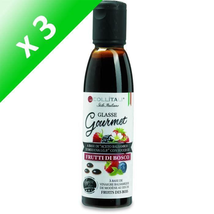 [LOT DE 3] COLLITALI Crème balsamique de Modène aromatisation fruits des bois - bouchon graphique - 180 g - 150 ml