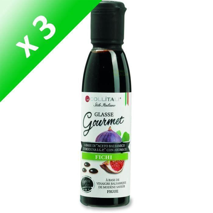 [LOT DE 3] COLLITALI Crème balsamique de Modène aromatisation figue - bouchon graphique - 180 g / 150 ml