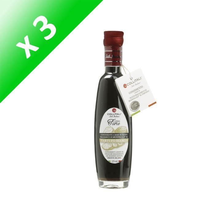 [LOT DE 3] COLLITALI Bouteille - poignée design- FIORE vinaigre balsamique aromatisation naturelle truffe - 125 ml