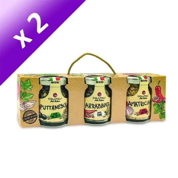 [LOT DE 2] COLLITALI PASTISSIME : recette PUTTANESCA (spaghetti) 16 g / AMATRICIANA (rigatoni) 13 g / ARRABBIATA ( penne) 13 g