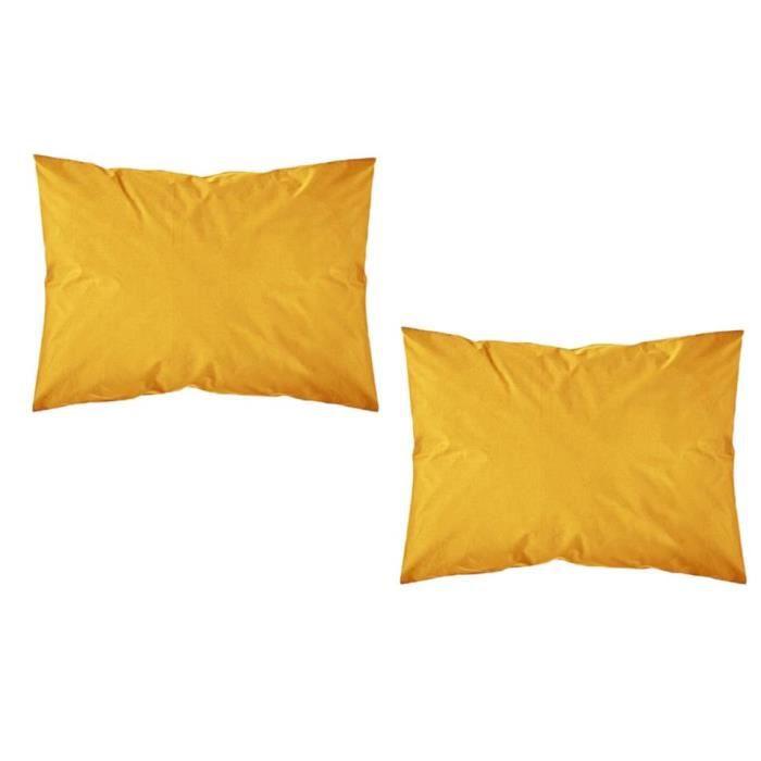 TODAY Lot de 2 taies d'oreiller - 50x70 cm - 100% Coton - Safran