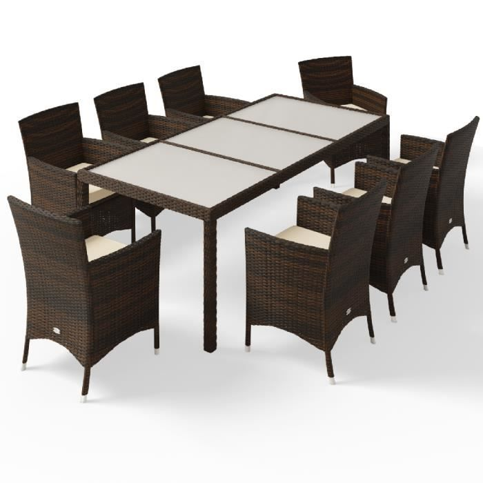 Deuba - Salon de jardin - Ensemble 8+1 • brun, polyrotin - 8 chaises empilables • table avec plateau en verre dépoli - Meuble, mobil